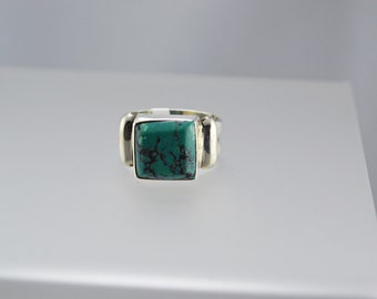 Turquoise Sterling Silver Ring, Natural Cabochon Gemstone, December Birthstone