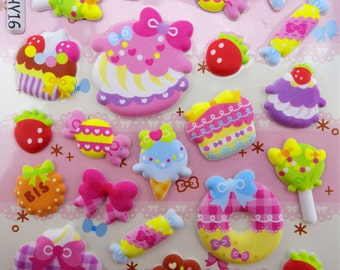 Kawaii sweets and treats in pastel colors PUFFY 3D stickers - French macarons - ice cream - cupcakes - doughnuts - loliipops - biscuits