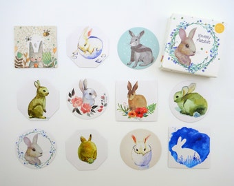 45 precious bunny rabbit geometric Chinese sticker flakes - adorable bunnies in eggs - Easter Holiday - pet rabbits - zakka paintings