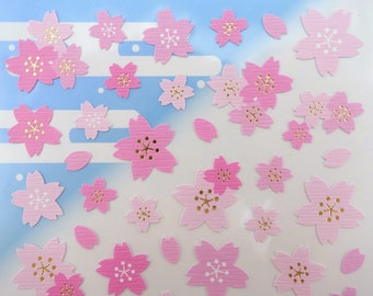 Japanese sakura cherry blossom chiyogami paper stickers - pink and light pink Asian flowers - oriental floral yuzen - metallic gold detail