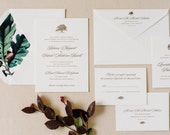 Letterpress Wedding Invitation Majestic Grand Oak Tree / Also Available with Names Hot STAMPED in Gold or Copper Foil