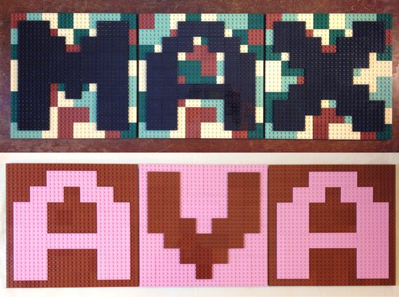 Choose 3 pixel letter lego wall art w background arcade for 8 bit room decor