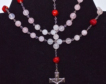 Rosary with Rose Quartz, Red Our Father beads