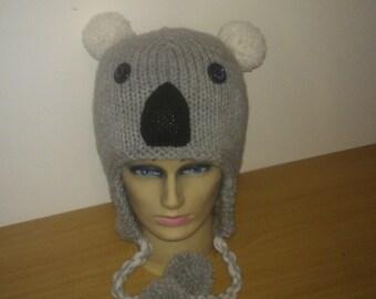 Hand knitted Koala hat
