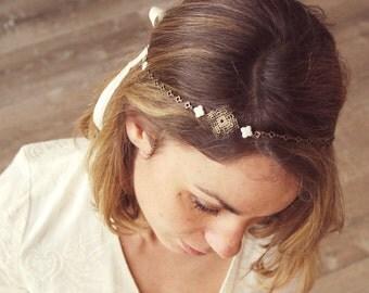 "Headband wedding Pearl (gemstone) brass & ivory ribbons ""Clover"" Pemberley jewelry, headband, headband Bohemia, married headband"