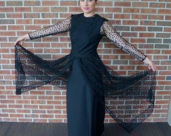 Vintage Black Polka Dot Dress // 1960's Sheer Polka Dot Maxi Dress