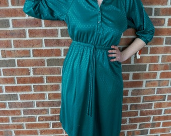 Vintage Teal Polka Dot Dress // 1970's Vintage Teal Dress