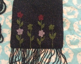 Vintage Beaded Flower Bag