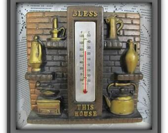Vintage Kitchen thermostat, Vintage Kitchen decor, 1970's wall art, Vintage wall art, Old farm kitchen, Rustic kitchen decor