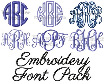 Embroidery Font Pack - 6 Machine Embroidery Fonts in 5 Sizes Each- Digital Embroidery Designs -Instant Download