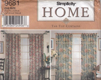 Simplicity 9681 Tab Curtains Sewing Pattern - Window Treatments Sewing Pattern - Home Decor Sewing Pattern - Uncut Sewing Pattern