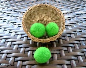 20mm Felt Balls, 100% Wool Felt Balls, 20+ Wool Felted Balls, Lime Color Felt Pom Poms, Bright Green Felt Balls, Handmade Pompoms