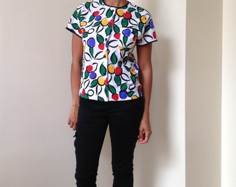 Vtg Ladies Pride Primary Color Bold Floral Picasso Blouse