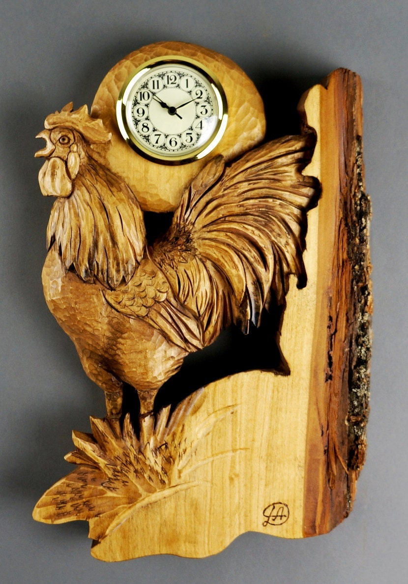 Rooster carved clock wall clocks made by hand woodcarving