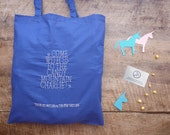 Charlie The Unicorn #5 : The Pink Unicorn & The Blue Unicorn - hand-embroidered blue cotton tote bag - pink and blue