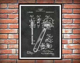 Patent 1915 Crescent Wrench - Art Print - Poster - Mechanics Wall Art - Carpenter Wall Art - Gift for Him - Auto Repair Shop Art Plumber Art