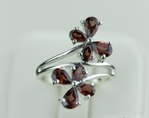 Size 7.5 GENUINE AFRICAN GARNET (Nickel Free) 925 Fine S0LID Sterling Silver Ring & Free Worldwide Express Shipping r1231