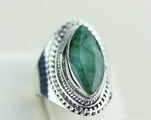 Size 6 VINTAGE AFRICAN EMERALD (Nickel Free) 925 Fine S0LID Sterling Silver Ring & Free Worldwide Express Shipping r1263