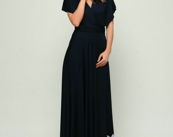 Navy Blue infinity dress, Long convertible dress, bridesmaid dresses, convetible wrap dress