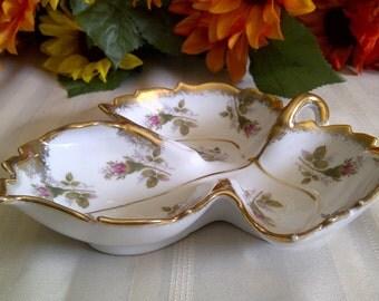 Vintage Porcelain Leaf Shaped Dish. Moss Rose Bud Design With Gold Trim. 1950's.