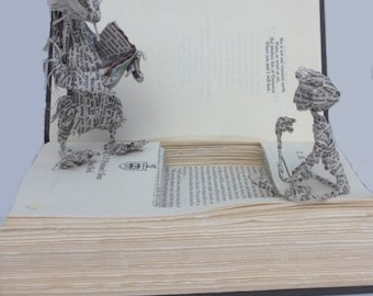 Father's Day, King Arthur, Book sculpture, TH White, booklover, book art,  paper art, paper sculpture, Once and Future King, Badger, reader