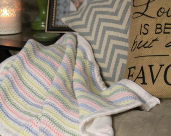 Striped Baby Blanket with Silky Liner