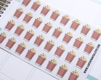 32 popcorn sticker, cinema sticker, film movie night stickers, planner stickers, scrapbook reminder, calendar, eclp filofax happy planner
