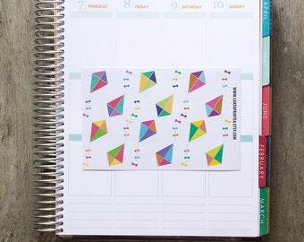 12 kite sticker, summer sticker, sport sticker, holidays vacation, planner stickers, reminder important eclp filofax happy planner kikkik