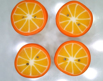 Orange Citrus Slices - handmade polymer clay buttons