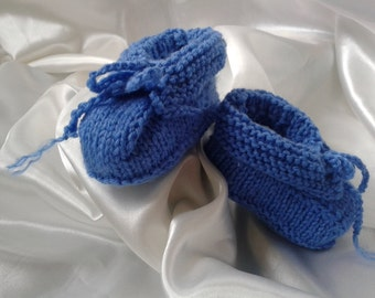 Handknitted, Merino, Baby Booties, Shoes, Slippers, Blue, 3, 6 months  **SALE**