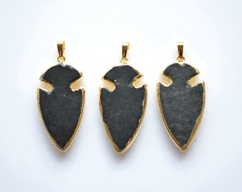 Nature black Jade ArrowHead Pendant For Necklace ,Arrow Head Wedding Party Bridal Jewelry Findings,Jewelry gemstone Charms Finding
