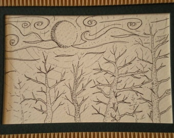 """Forest Nite tree doodle unique art 5"""" x 7"""" matted ink drawing by Lucy #102"""