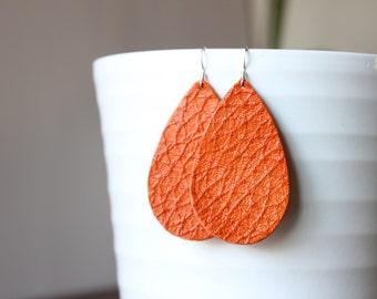 Orange Leather Earrings Sterling Silver Hooks