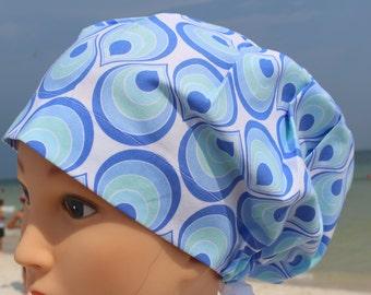 Retro Light Blue and Pale Green Tear Drop Print Scrub Cap for Women