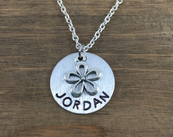 Personalized Flower Necklace - Hand stamped Name Necklace - Little Girl Gift - Flower Necklace