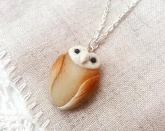 Barn owl necklace, kawaii jewelry, animal necklace, animal totem, owl jewelry, bird necklace, wise owl, handmade necklace