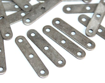 50 pcs 4x18 mm Three Hole  Brass Antique Silver Color