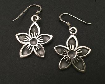 Flower Hanging Earrings - sterling silver