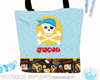 SALE Boy Pirate Personalized Tote Bags, custom Tote bag, kids tote, school tote, kindergarten tote, beach tote bag, pirate Tote Bags TB110