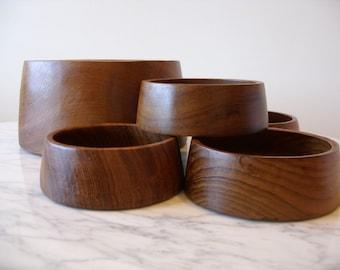 Vintage Teak Mid Century Modern Wood Bowl Set 1960's 7 Piece Set Hand Turned Teak Bowl Set