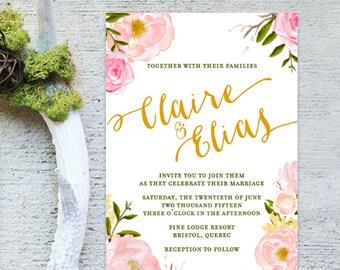DIY Printable Spring Watercolor Floral Wedding Invitation Suite