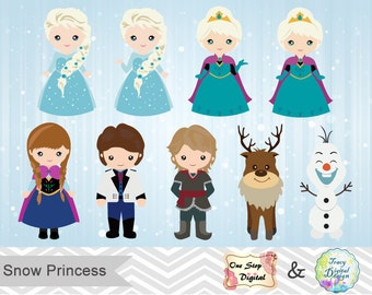 Digital Snow Princess Clip Art, Digital Frozen Clipart, Snow Princess Clip Art, Frozen Digital Clip art, 0177