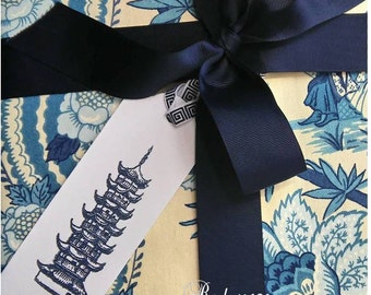 Chinoiserie Gift Tags Pagoda Asian Temple Blue and White Party Supplies - Set of 5