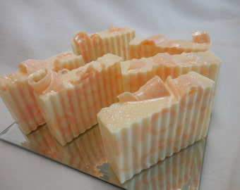 Fresh Cut Peaches SOAP LOAF - Peach Soap - Handmade Soap - Glycerin Fruity Soap - Olive Oil Guest Soap - Shea Butter Soap - Bulk Soap