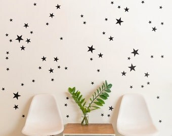 Black Stars  | Pattern Animals Kids Nursery | Removable Wall Decal Sticker | MS137VC-Blk