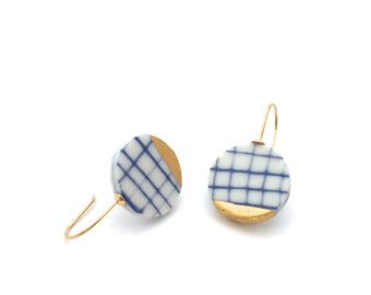 Cobalt Blue, porcelain earrings, minimalist ceramic earring, eco friendly jewelry, minimalist gold earring, porcelain jewelry, OeiCeramics