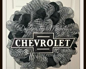 Chevrolet Black Deco Mesh Wreath, BR127