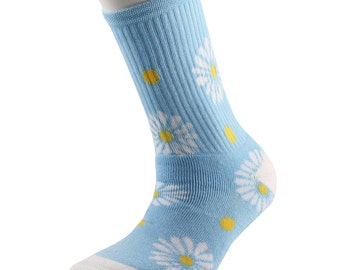 Samson® Summer Daisy Blue Socks Cotton Fashion Flowers Girly