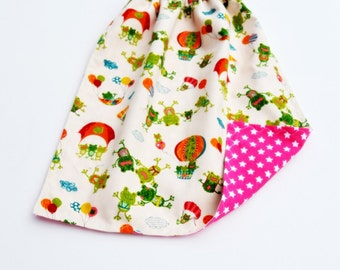 "Large bib or napkin for child ""Froglets parachute..."""