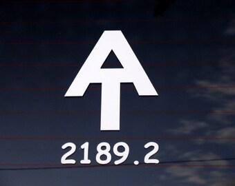 Appalachian Trail logo and mileage decal - car windows, laptop